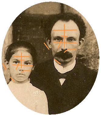 Diagrama de los rasgos coincidentes del restro entre José Martí y María Mantilla por el doctor Ercilio Vento