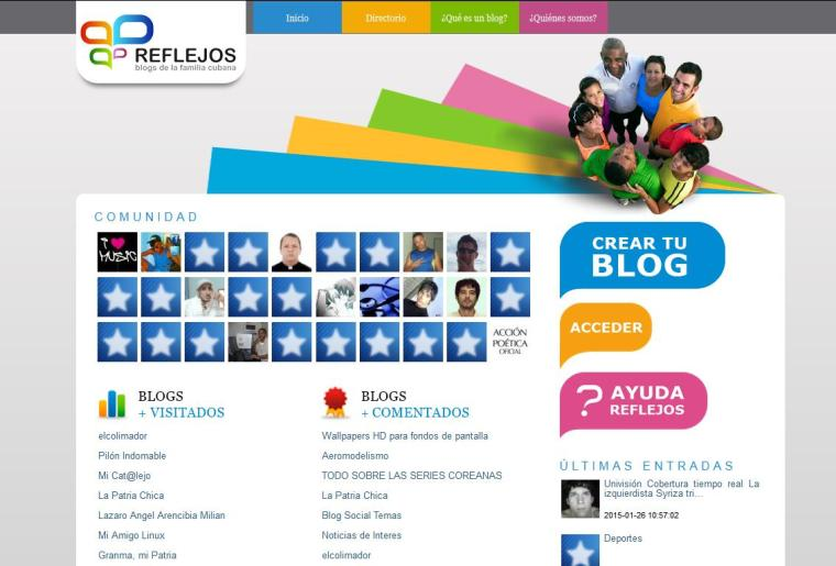 """La plataforma """"Reflejos"""" aloja en el dominio .cu los blogs de los cubanos. En ella los usuarios tienen un espacio accesible donde compartir sus opiniones, intereses y necesidades en formato de texto, imágenes y videos."""