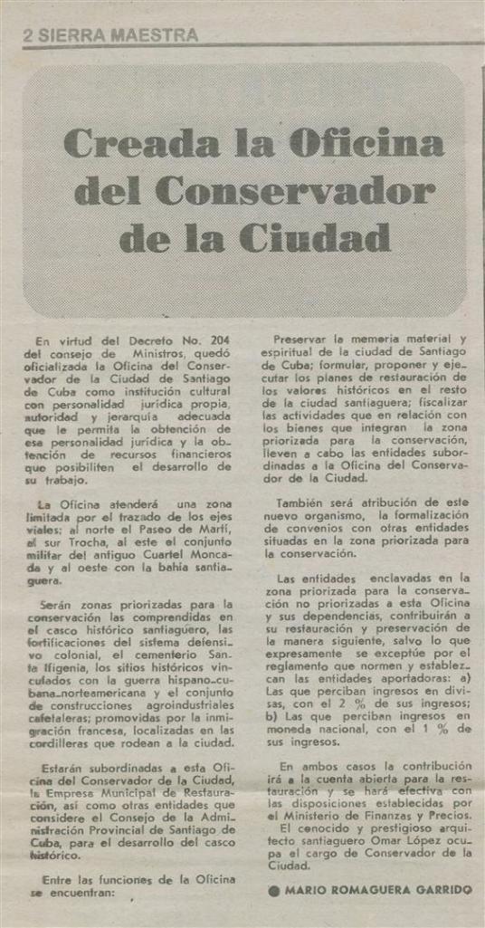 Creación de la Oficina del Conservador de la Ciudad de Santiago de Cuba, hace 20 años. Nota periodística publicada en el Sierra Maestra. Imagen suministrada por René Silveira.